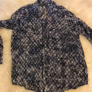 Black gray  white with blue sheer blouse